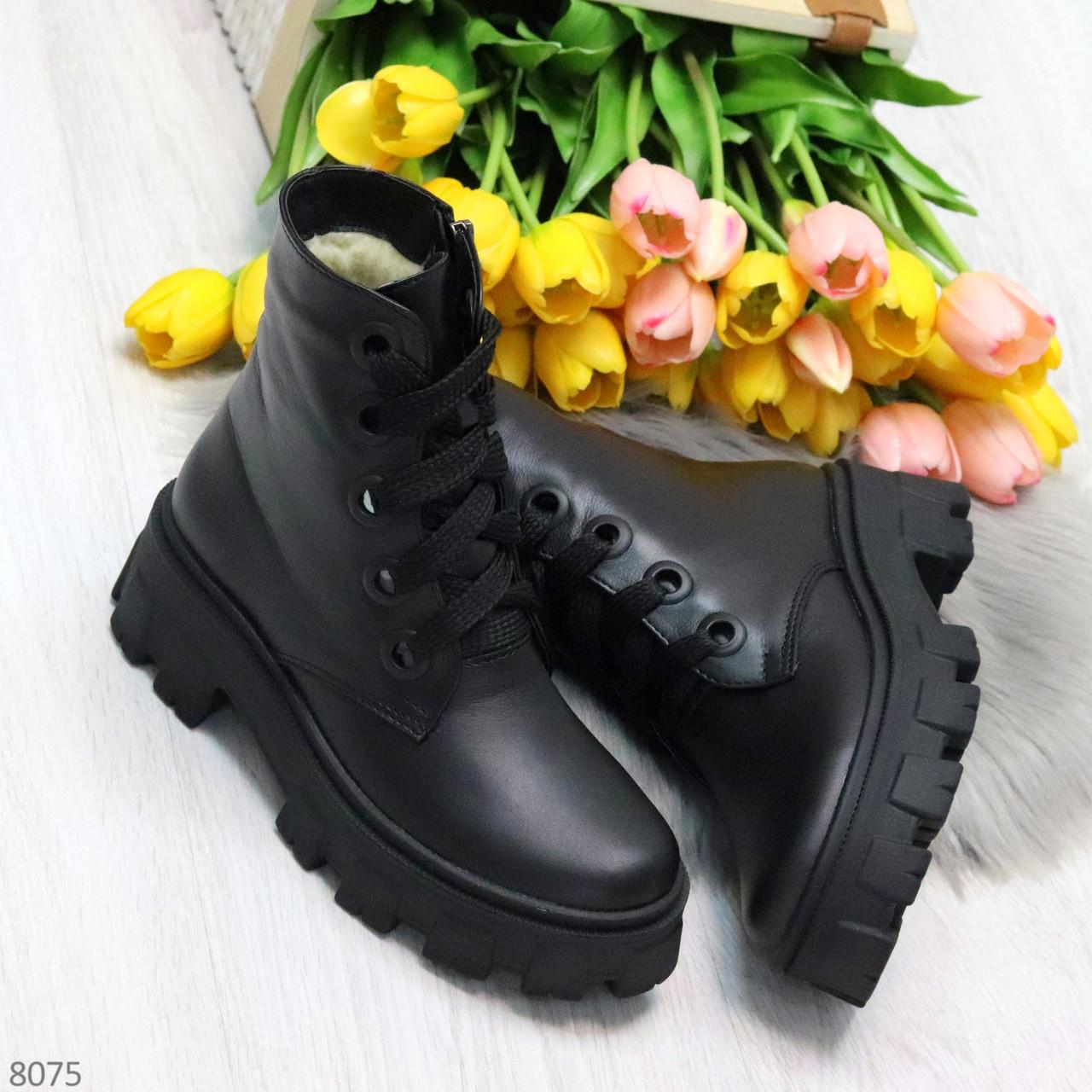 Ультра модные черные женские ботинки гриндерсы из натуральной кожи