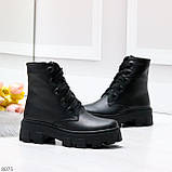 Ультра модные черные женские ботинки гриндерсы из натуральной кожи, фото 2
