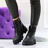 Ультра модные черные женские ботинки гриндерсы из натуральной кожи, фото 3