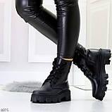 Ультра модные черные женские ботинки гриндерсы из натуральной кожи, фото 4