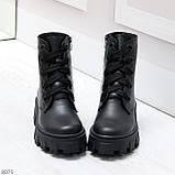Ультра модные черные женские ботинки гриндерсы из натуральной кожи, фото 5