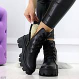 Ультра модные черные женские ботинки гриндерсы из натуральной кожи, фото 6