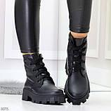 Ультра модные черные женские ботинки гриндерсы из натуральной кожи, фото 7