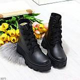 Ультра модные черные женские ботинки гриндерсы из натуральной кожи, фото 9