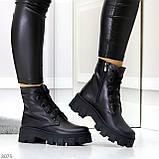 Ультра модные черные женские ботинки гриндерсы из натуральной кожи, фото 10