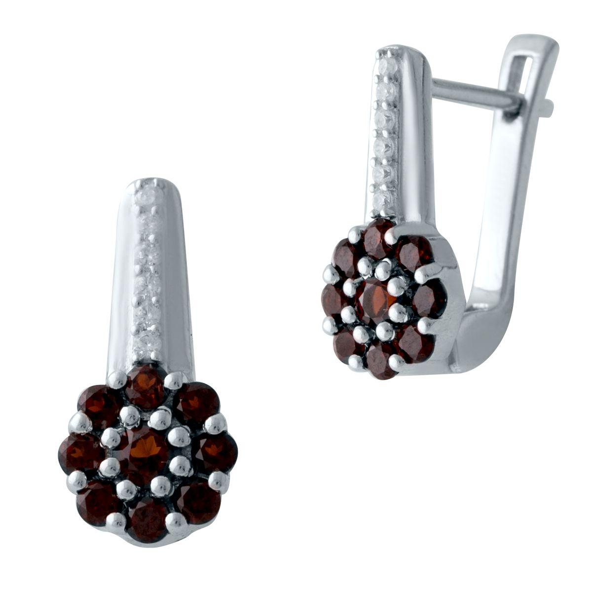 Серебряные серьги DreamJewelry с натуральным гранатом (2025801)