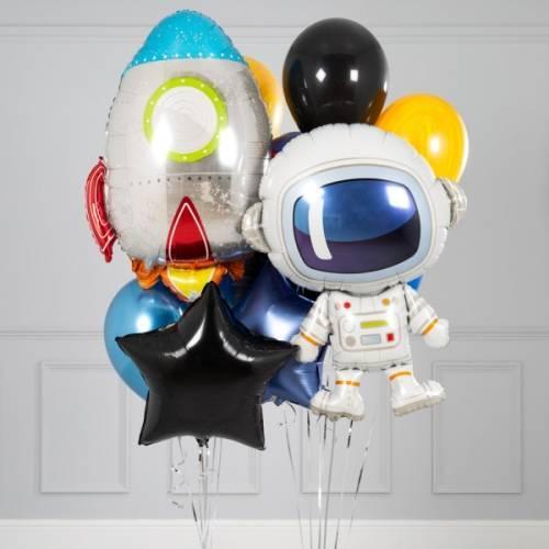 """Композиція з гелієвих кулькок на замовлення """"Космонавт і ракета"""""""