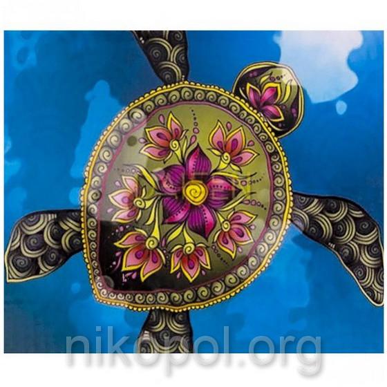 """Картина по номерам """"Черепаха с цветком"""" на полотне, большая 400*500мм №30723"""