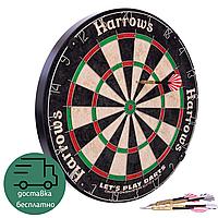Мишень для игры в дартс профессиональная с 6 дротиками Harrows Сизаль Диаметр 45 см Черный (JE01D)
