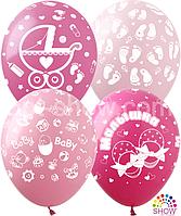 """Латексные шары 12"""" (30 см) Микс Выписка для Девочки , 10 шт"""