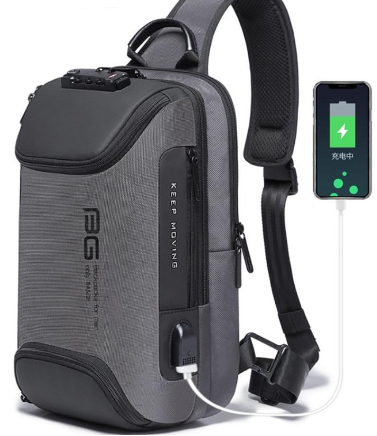 Однолямочный рюкзак Bange BG-7082 кодовый замок 9л серый