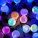 Гирлянда разноцветная шарик 80LED 7м (флеш) Черный провод RD-7105   Новогодняя светодиодная гирлянда RGB, фото 2