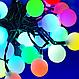 Гирлянда разноцветная шарик 80LED 7м (флеш) Черный провод RD-7105   Новогодняя светодиодная гирлянда RGB, фото 4