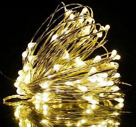 Гирлянда медная лампа Теплый белый серебристый провод 10м RD-7109 | Проволочная нить