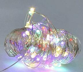 Гирлянда медная лампа разноцветная 100 LED серебристый провод 10м Батарейки RD-7111 | Проволочная нить RGB