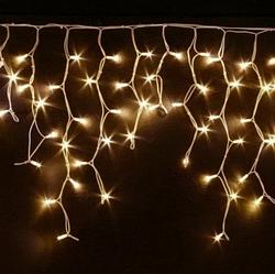 Гирлянда бахрома 120LED 4м Теплый белый 30/50/70см (флеш) RD-7118 белый провод | Новогодняя LED гирлянда