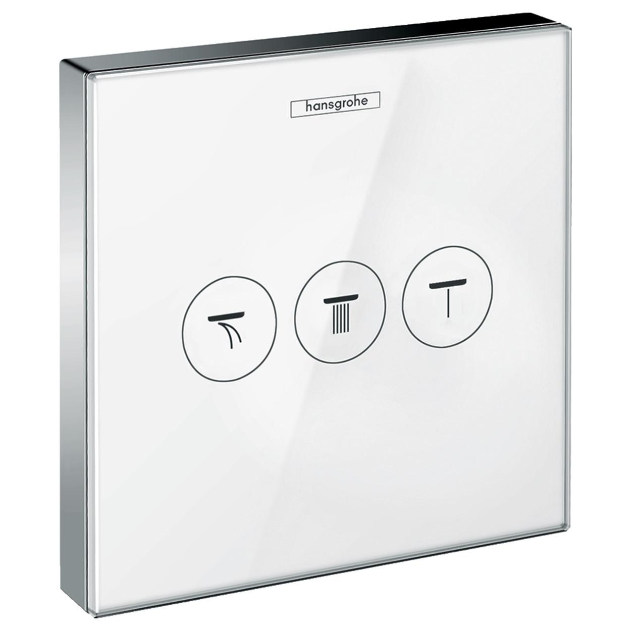 SHOWERSELECT модуль с тремя запорными клапанами, стеклянный, белый/хром