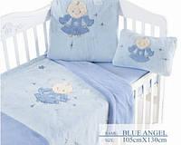 Arya детский плед с вышивкой - Blue angel
