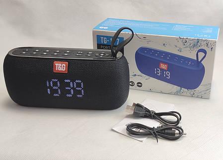 Портативная беспроводная bluetooth юсб колонка музыки блютуз акустика с часами радио для телефона черный, фото 2