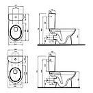 NOVA PRO Rimfree унитаз-компакт: напольный унитаз, г/в, Rimfree, бачок округлой формы, нижн/п, 6/3 л, с, фото 2