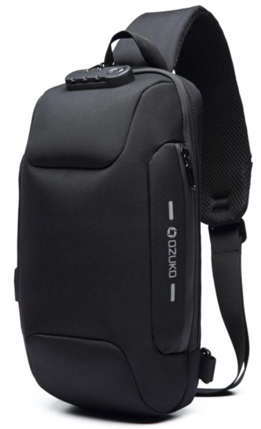 Однолямочный рюкзак Ozuko OZ1 з кодовим замком, чорний (см7)