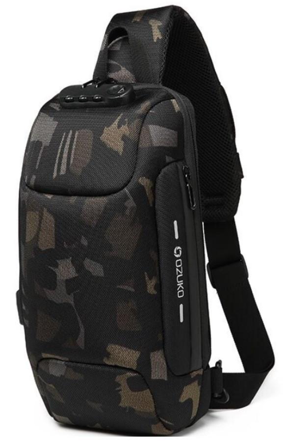 Однолямочний рюкзак Ozuko 9223 з кодовим замком камуфляж