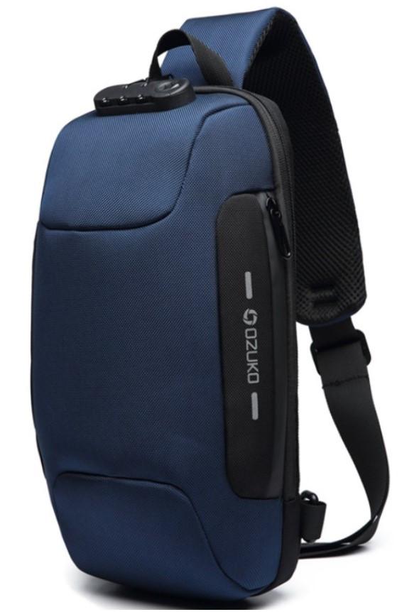 Однолямочный рюкзак Ozuko 9223 с кодовым замком 5л синий