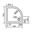 Піддон SMC 90*90*3,5 см напівкруглий, фото 2