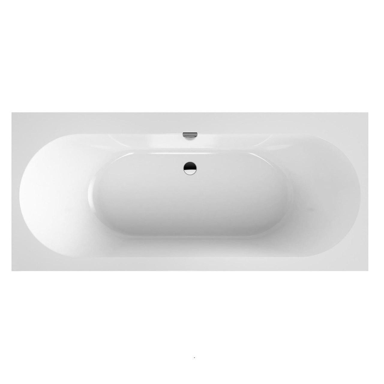 OBERON 2.0 ванна 180*80см, квариловая с ножками и сливом-переливом