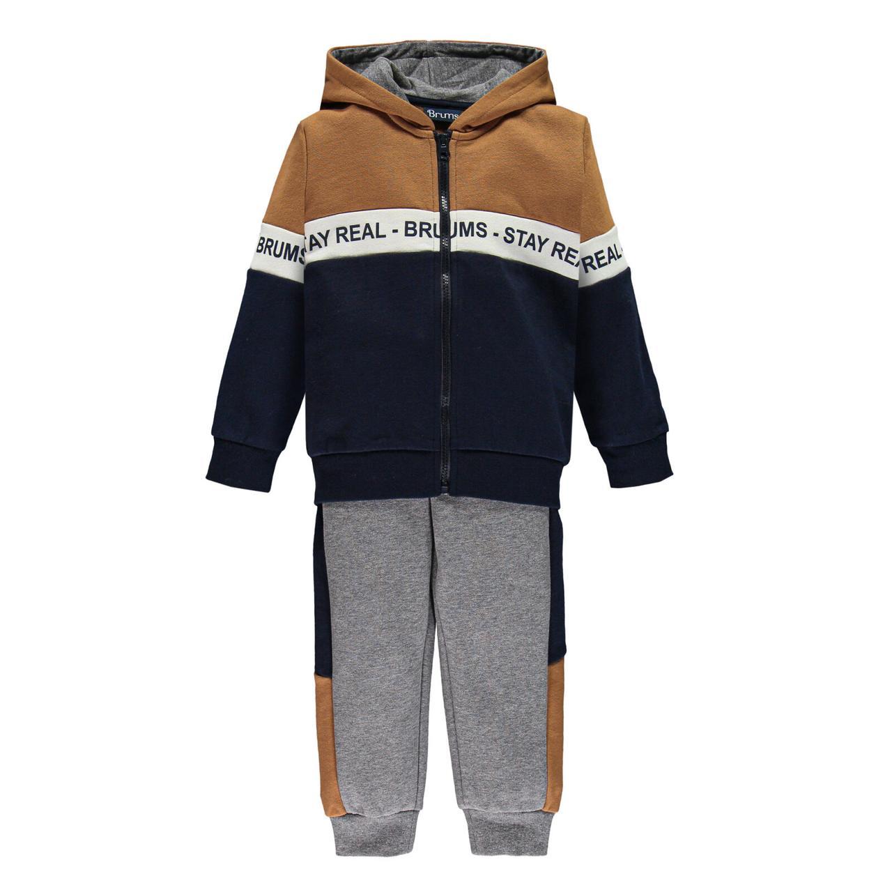 Утеплений спортивний костюм трійка для хлопчика Brums 203BFEP006-286 синій з коричневим 152-170