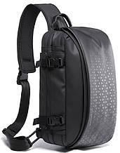 Однолямочный рюкзак Tangcool TC22027 вологостійкий міської чоловічий чорний 8л