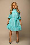 Платье ментол в горошек, шифон, подкладка трикотаж B&B Angel, р. 98, 116, фото 3