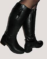 Женские зимние кожаные сапоги на небольшом каблуке