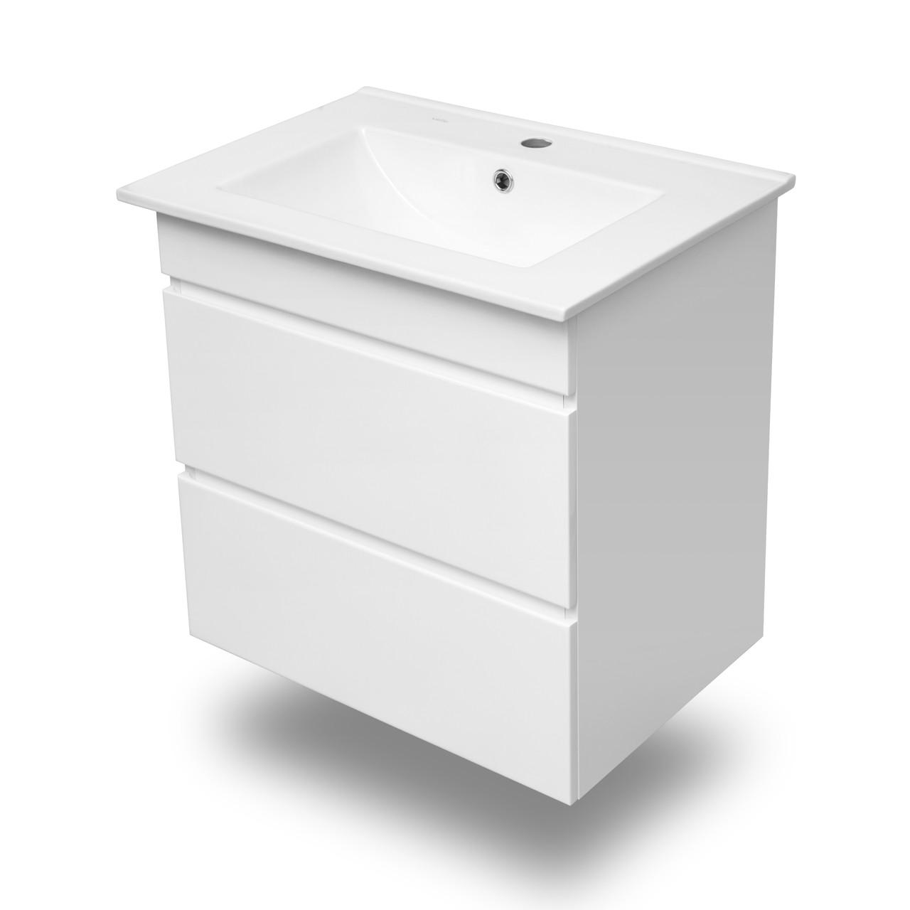 FIESTA комплект мебели 60см белый: тумба подвесная, 2 ящика + умывальник накладной арт 13-01-042A