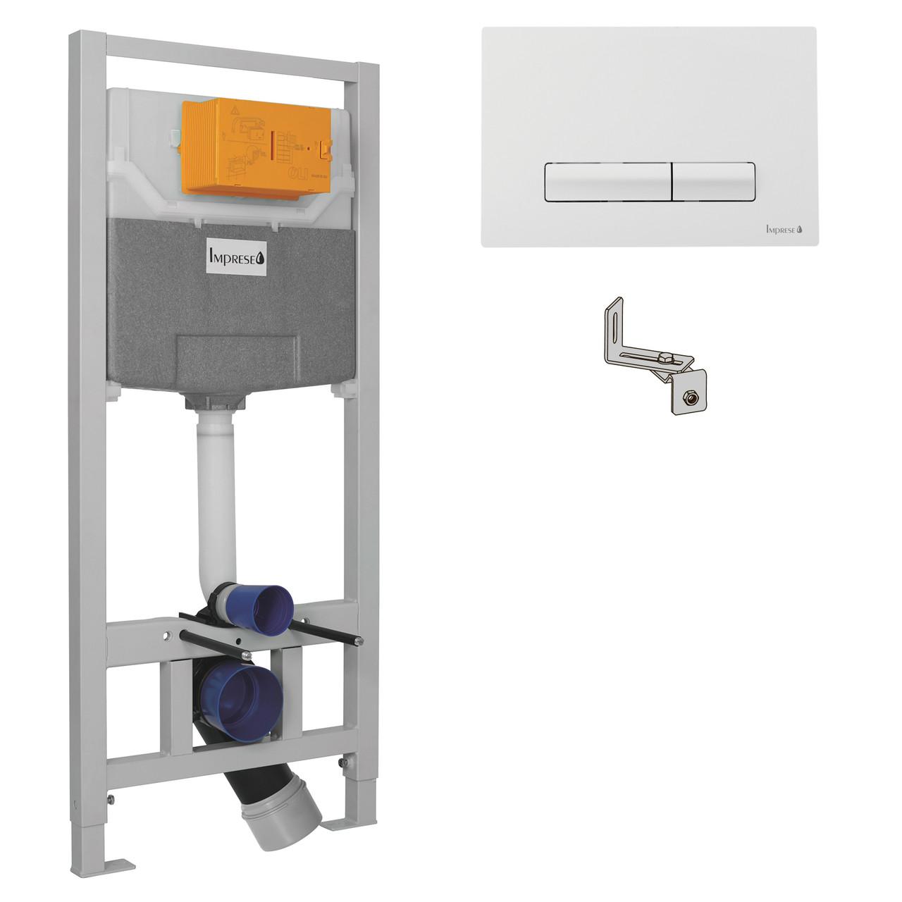 IMPRESE комплект инсталляции для унитаза 3в1 (инсталляция, крепления, клавиша белая PANI)