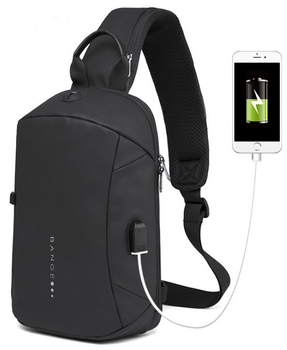 Однолямочный рюкзак Bange BG-1912 USB порт 6л чорний