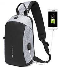 Однолямочный рюкзак Bange BG-1912 USB порт 6л світла сіра