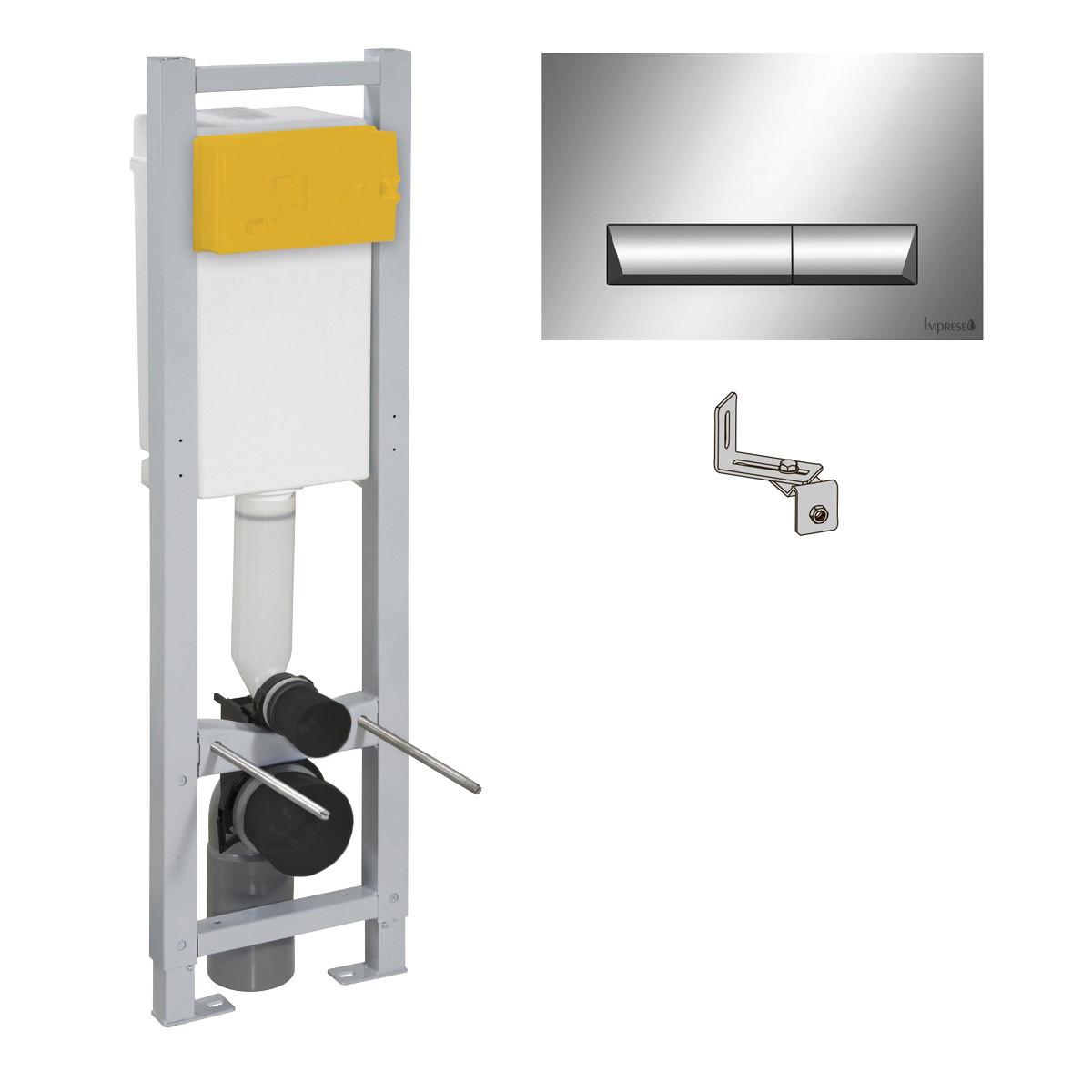 IMPRESE комплект инсталляции для унитаза 3в1, узкая 30 см (инсталляция, крепления, клавиша хром PAN)