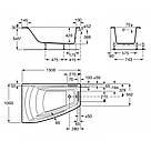 HALL ванна 150*100см угловая, левая версия, с интегр. подлокотниками, с подголовником и регулир. ножками, фото 2