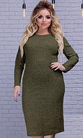 """Женское платье """"Rondo"""" ангора большие размеры хаки"""