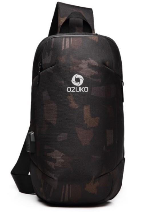 Однолямочный рюкзак Ozuko 9231 кодовый замок USB порт мужской городской камуфляж 5л
