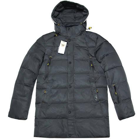 Зимняя мужская стеганая курточка удлиненная ZPJV 48 размер серая, фото 2