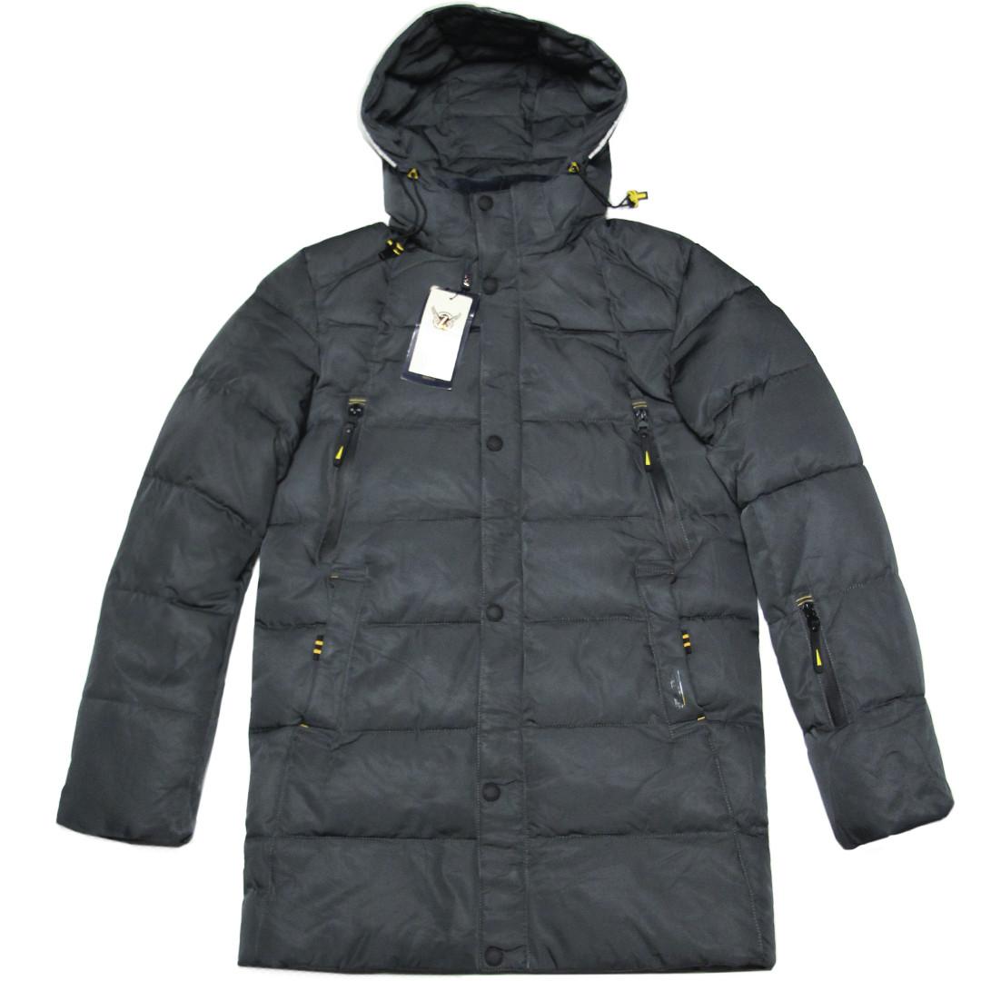 Зимняя мужская стеганая курточка удлиненная ZPJV 48 размер серая