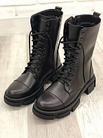 Женские ботинки черные из натуральной кожи