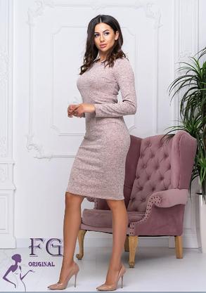 """Платье женское пудра """"Rondo"""" ангора большие размеры, фото 2"""