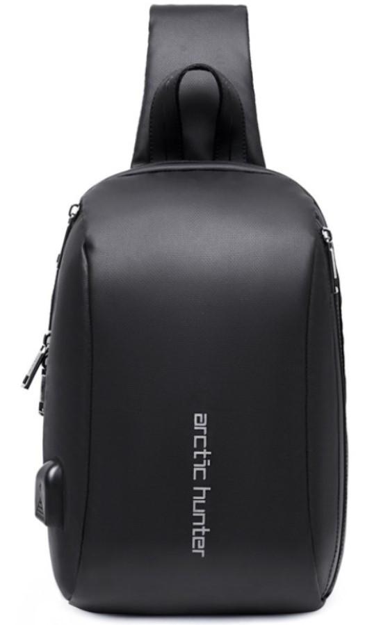 Однолямочный рюкзак Arctic Hunter XB00081 чоловічий міський вологостійкий чорний 5л