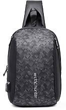 Однолямочний рюкзак Arctic Hunter XB00081 USB порт чоловічий міський вологостійкий 6л