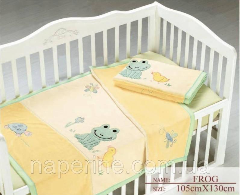 Arya детский плед с вышивкой -  Frog