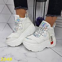 Кроссовки деми на высокой платформе белые серебром, фото 2