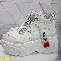 Кроссовки деми на высокой платформе белые серебром, фото 3